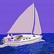 Sailing Blue Ocean Art Print