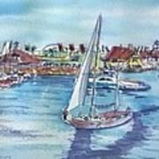 Sailing By Shoreline Village Art Print