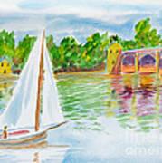 Sailing By The Bridge Art Print