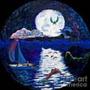 Sailing In The Moonlight Art Print