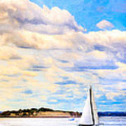 Sailing On A Beautiful Day In Boston Harbor Art Print