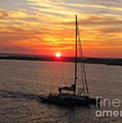 Sailing Past The Sunset Art Print