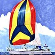 Sailing Primary Colores Spinnaker Art Print