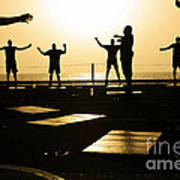 Sailors Exercise In The Hangar Bay Art Print