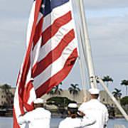 Sailors Hoist The American Flag Art Print