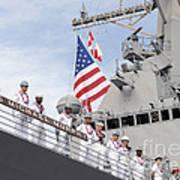 Sailors Man The Rails Aboard Uss Art Print