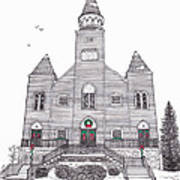 Saint Bridget's Church At Christmas Art Print by Michelle Welles
