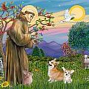 Saint Francis Blesses A Corgi And Her Pup Art Print