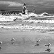 Saint Joseph Michigan Lighthouses Stormy Day At Silver Beach I Bw Art Print