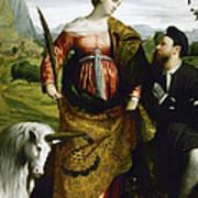 Saint Justina With The Unicorn Art Print