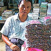 Salesman In The Marketplace In Tachilek-burma Art Print