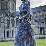 Salisbury Cathedral And The Walking Madonna 2 Art Print