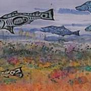 Salmon In The Stream Art Print by Carolyn Doe