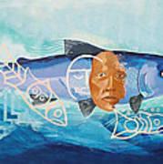 Salmon Spirit in Blue Art Print