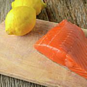 Salmon With Lemons On Wood Background Art Print