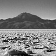 Salt Flat Surface Black And White Art Print