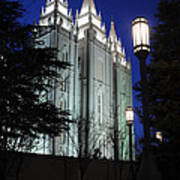 Salt Lake Mormon Temple At Night Art Print