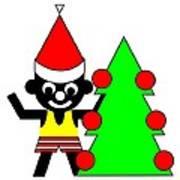 Sam And His Christmas Tree Wish You A Merry Christmas Art Print