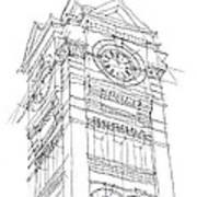 Samford Hall Sketch Art Print