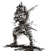 Samurai Complete Armor Warrior Steel Silver Plate Japanese Painting Watercolor Ink G Art Print