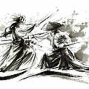 Samurai Sword Bushido Katana Martial Arts Budo Sumi-e Original Ink Painting Artwork Art Print