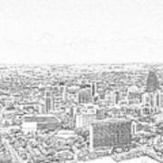 San Antonio Downtown Lineart Art Print