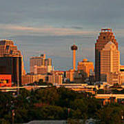 San Antonio - Skyline At Sunset Art Print