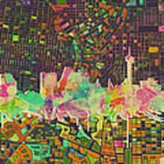 San Antonio Skyline Watercolor 5 Art Print
