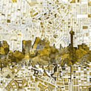 San Antonio Skyline Watercolor 7 Art Print