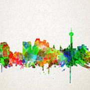 San Antonio Skyline Watercolor Art Print