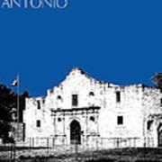 San Antonio The Alamo - Royal Blue Art Print