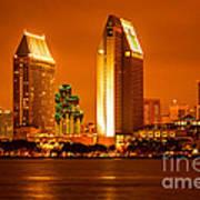 San Diego Skyline At Night Along San Diego Bay Art Print