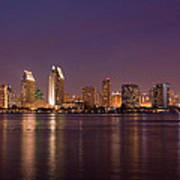 San Diego Skyline At Night Art Print