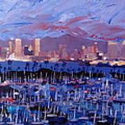 San Diego Skyline With Marina At Dusk Art Print