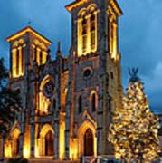 San Fernando Cathedral And Christmas Tree Main Plaza - San Antonio Texas Art Print