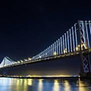 San Francisco Bay Bridge With Led Lights Art Print