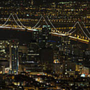 San Francisco Cityscape With Oakland Bay Bridge At Night Art Print