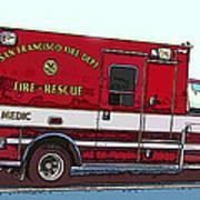 San Francisco Fire Dept. Medic Vehicle Art Print by Samuel Sheats