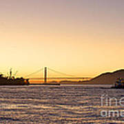 San Francisco Harbor Golden Gate Bridge At Sunset Art Print by Artist and Photographer Laura Wrede