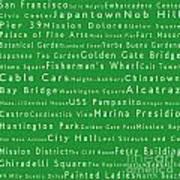 San Francisco In Words Green Art Print