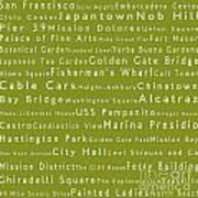 San Francisco In Words Olive Art Print