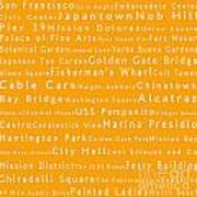 San Francisco In Words Orange Art Print