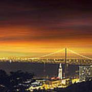 San Francisco Oakland Bay Bridge At Sunset Art Print