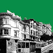 San Francisco Skyline Cable Car 2 - Forest Green Art Print