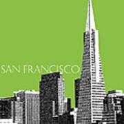 San Francisco Skyline Transamerica Pyramid Building - Olive Art Print by DB Artist