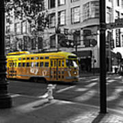 San Francisco Vintage Streetcar On Market Street - 5d19798 - Black And White And Yellow Art Print