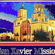 San Xavier Mission Postcard #1  With Lettering No Date-2013  Art Print