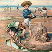 Sand Castles At The Beach Art Print