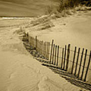 Sand Dunes And Fence Art Print