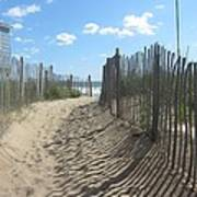 Sand Fence At Southern Shores  Art Print by Cathy Lindsey